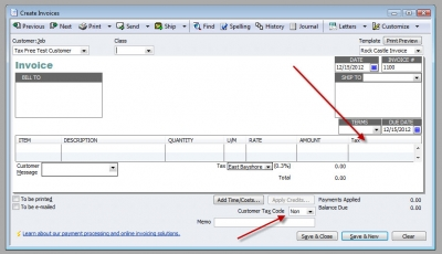 QuickBooks Premier 2009 Create Invoices Sales Tax Code