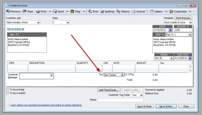 QuickBooks Premier 2009 Create Invoices Sales Tax Item