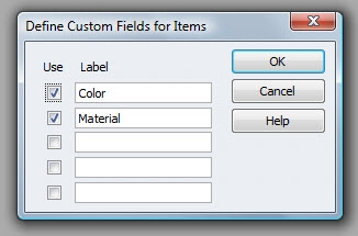 QuickBooks Premier 2009 Custom Fields for Items