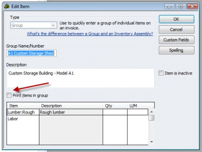 QuickBooks Premier 2009 Edit Item Group Item