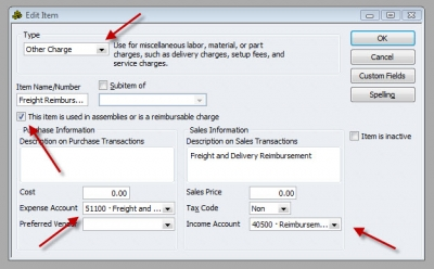 QuickBooks Premier 2009 Edit Item Other Charge Reimbursable
