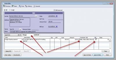 QuickBooks Premier 2009 Enter Bill Reimbursable Item