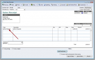 QuickBooks Premier 2009 Enter Sales Receipt Use Undeposited Funds