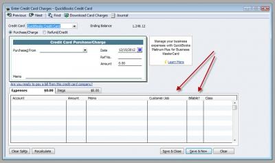 QuickBooks Premier 2009 Enter Credit Card Charge Billable
