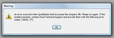 QuickBooks Premier 2009 Error Code -6000 -77