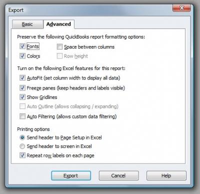QuickBooks Premier 2009 Export Advanced