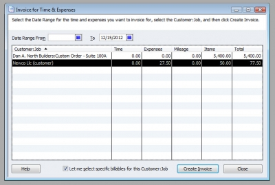 QuickBooks Premier 2009 Invoice for Time & Expenses 2