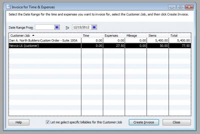 QuickBooks Premier 2009 Invoice for Time & Expenses 2
