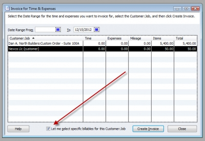 QuickBooks Premier 2009 Invoice for Time & Expenses