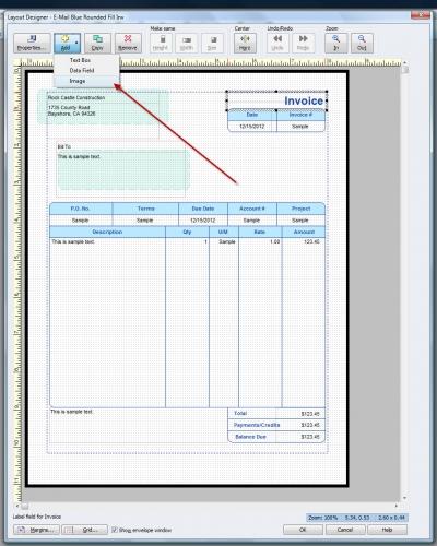 QuickBooks Premier 2009 Layout Designer Add Image