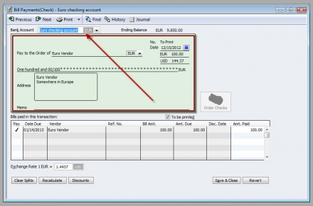 QuickBooks Premier 2009 Multicurrency Bill Payment Check