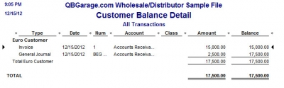 QuickBooks Premier 2009 Multicurrency Customer Balance Detail Report