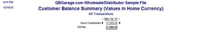QuickBooks Premier 2009 Multicurrency Customer Balance Detail Summary Report