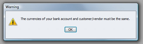 QuickBooks Premier 2009 Multicurrency Match Warning