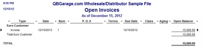 QuickBooks Premier 2009 Multicurrency Open Invoices Report