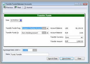 QuickBooks Premier 2009 Multicurrency Transfer Funds