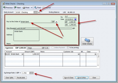 QuickBooks Premier 2009 Multicurrency Write Check Bank Transfer