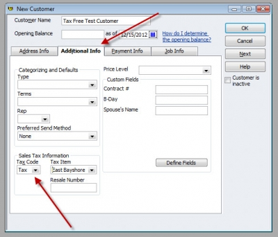 QuickBooks Premier 2009 New Customer Sales Tax Code