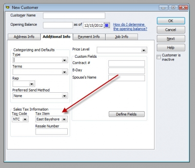 QuickBooks Premier 2009 New Customer Sales Tax Item