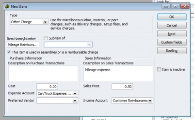 QuickBooks Premier 2009 New Item Mileage