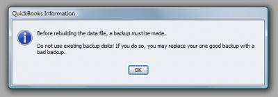 QuickBooks Premier 2009 Rebuild Backup