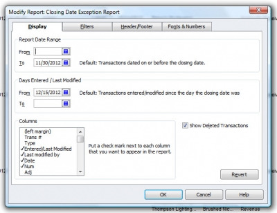 QuickBooks Premier 2009 Closing Date Exception Report Display Tab