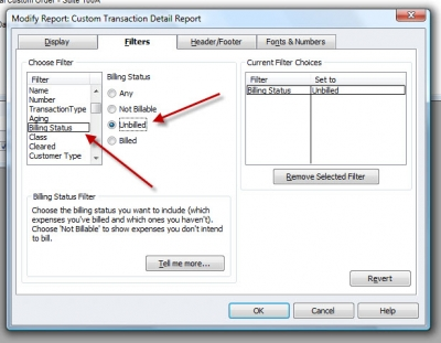 QuickBooks Premier 2009 Report Custom Transaction Detail Filters Tab