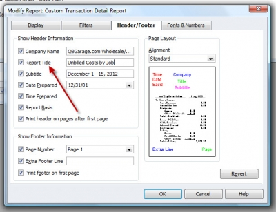 QuickBooks Premier 2009 Report Custom Transaction Detail Header/Footer Tab