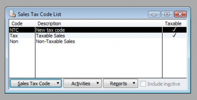 QuickBooks Premier 2009 Sales Tax Code List