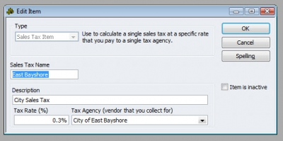 QuickBooks Premier 2009 Sales Tax Item