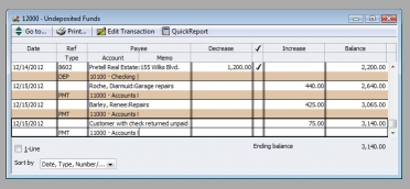 QuickBooks Premier 2009 Undeposited Funds Register