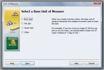 QuickBooks Premier 2009 Unit of Measure Wizard 2