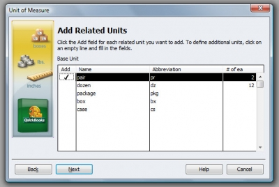 QuickBooks Premier 2009 Unit of Measure Wizard 3