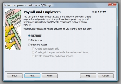 QuickBooks Premier 2009 User Access Payroll