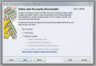 QuickBooks Premier 2009 User Access Sales