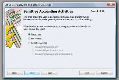 QuickBooks Premier 2009 User Access Sensitive Accounting Activities