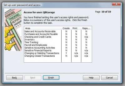 QuickBooks Premier 2009 User Access Summary
