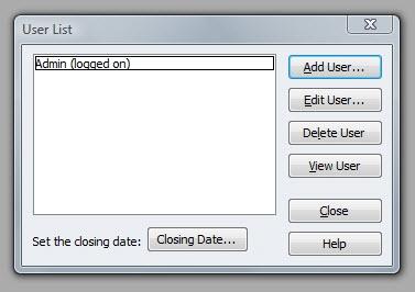 QuickBooks Premier 2009 User List