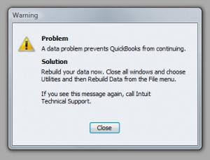 QuickBooks Premier 2009 Verify Utility Warning
