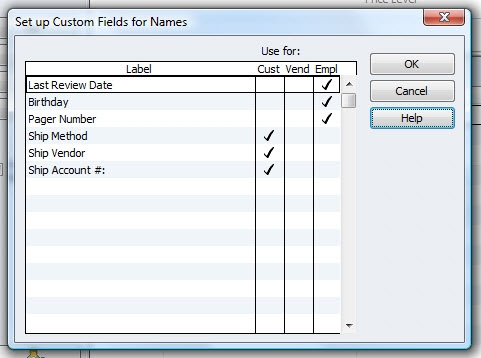 QuickBooks Premier 2010 Custom Fields