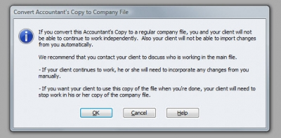QuickBooks Accountants Copy Convert To QBW Warning
