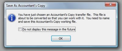 QuickBooks Accountants Copy Save As