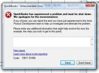 QuickBooks Error Code 19511 51058