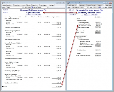 Report Rebuild Compare Open Invoices To Balance Sheet