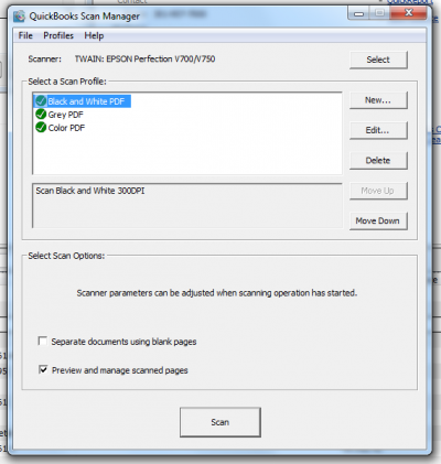 QuickBooks 2011 Scan Manager