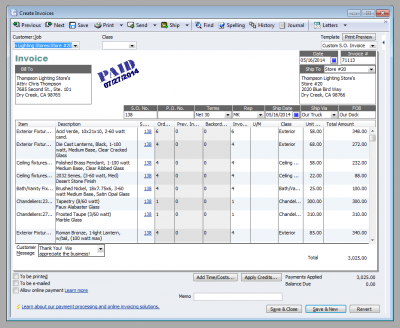 QuickBooks 2011 Create Invoices Window With Date Paid Stamp
