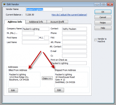 QuickBooks 2011 Edit Vendor Window Showing 2 Addresses