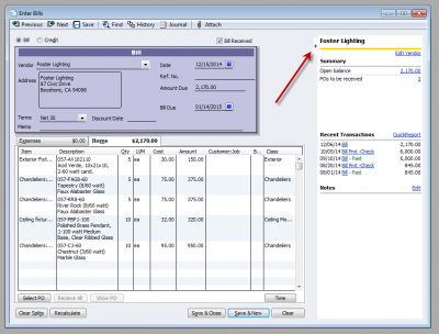 QuickBooks 2011 Enter Bills History Tab