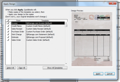 QuickBooks 2011 Online Forms Customization Apply Design Window