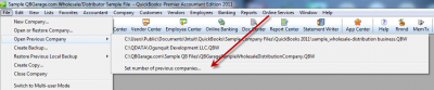 QuickBooks 2011 Set Number of Previous Companies Menu